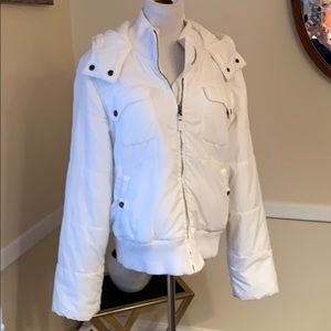 Tommy Hilfiger White Puffer Coat with hood XL EUC
